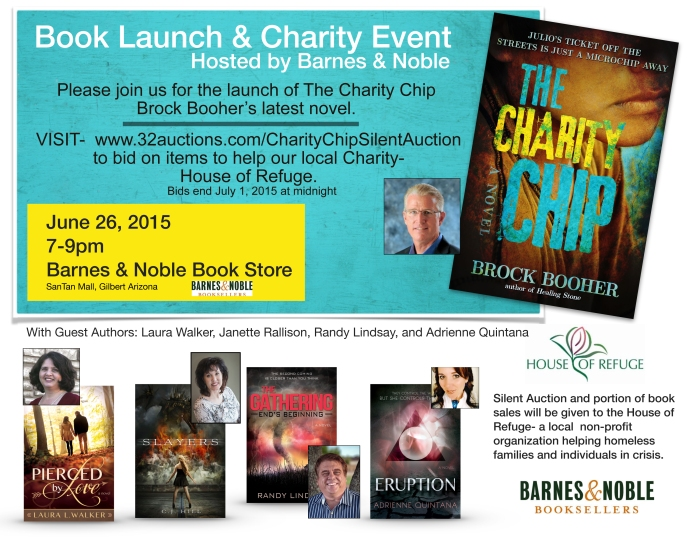 Charity chip flyer for book launch